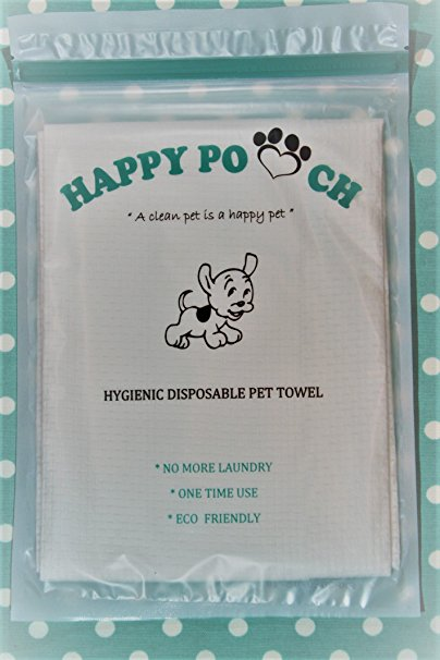 Disposable Pet Towel Happy Pooch, 10 Individual Packs.No More Laundry, One Time Use, Eco Friendly