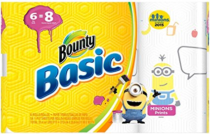 Bounty Basic Paper Towels, Minion Prints, Big Roll - 6 pk