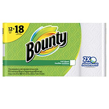 Bounty Paper Towels, Full Sheet, White, 12 Count